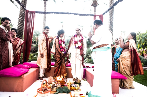 Indian wedding ceremony bride groom outdoors mandap