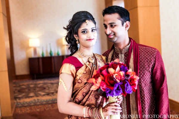 Indian wedding portrait bride groom bouquet