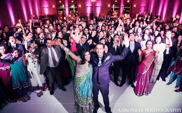 Indian wedding reception bride groom guests