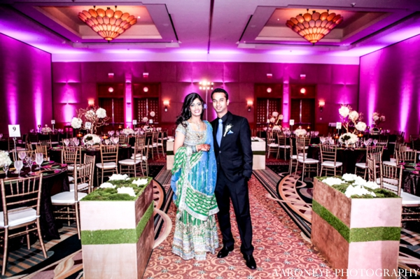 Indian wedding reception bride groom lighting venue