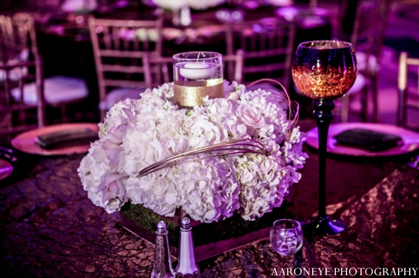 Indian wedding reception floral centerpiece