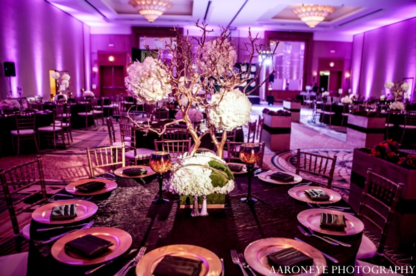 Indian wedding reception lighting purple