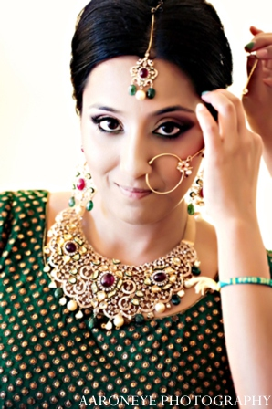 Indian bride nose chain in Huntington Beach, California Sikh Wedding by Aaroneye Photography