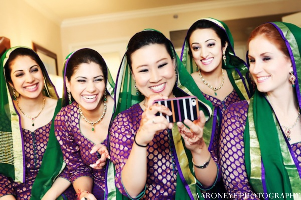 Indian wedding bridesmaids in Huntington Beach, California Sikh Wedding by Aaroneye Photography