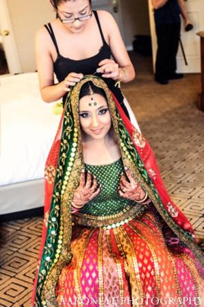 Indian wedding lehenga in Huntington Beach, California Sikh Wedding by Aaroneye Photography