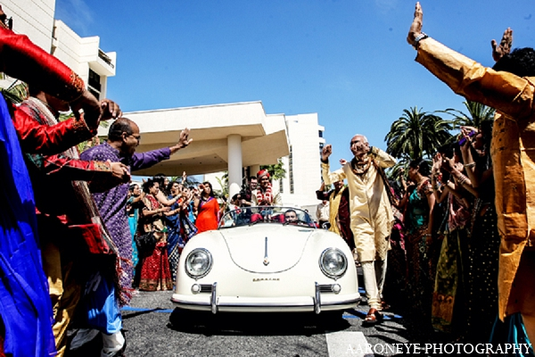 Indian wedding baraat groom transportation in Newport Beach, California Indian Wedding by Aaroneye Photography