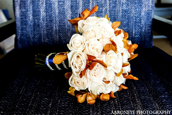 Indian wedding bride bouquet floral in Newport Beach, California Indian Wedding by Aaroneye Photography