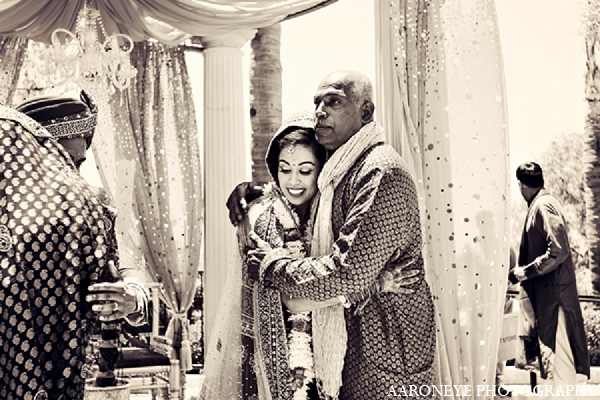 Indian wedding bride ceremony father in Newport Beach, California Indian Wedding by Aaroneye Photography