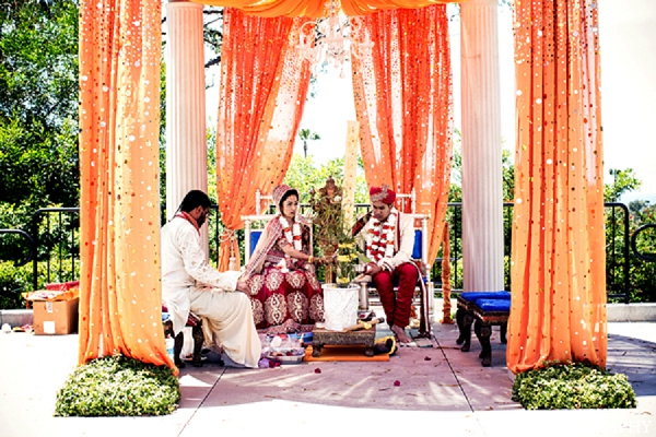 Indian wedding ceremony mandap bride groom in Newport Beach, California Indian Wedding by Aaroneye Photography