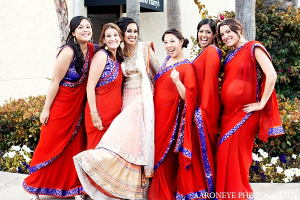 Indian wedding portraits bride bridal party in Newport Beach, California Indian Wedding by Aaroneye Photography