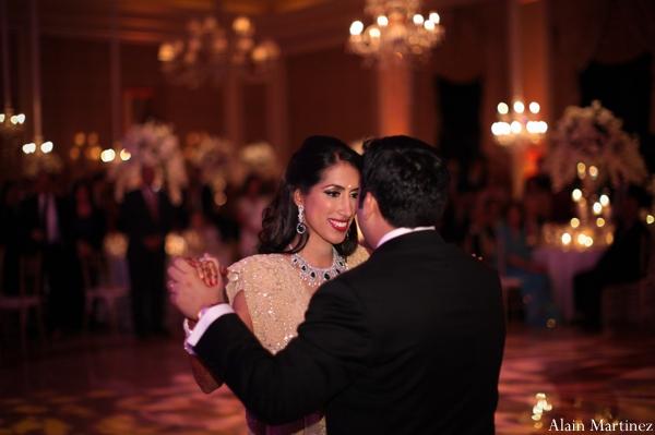 Indian wedding bride groom dancing reception lighting