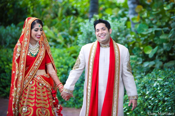 Indian wedding first look portraits lengha sherwani