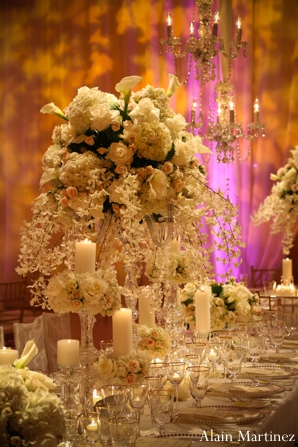 Indian wedding floral table setting reception