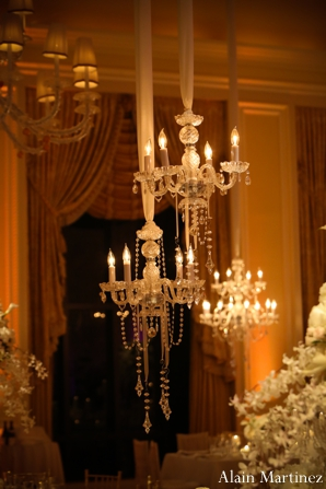 Indian wedding reception venue chandelier