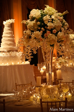 Indian wedding table setting floral lighting