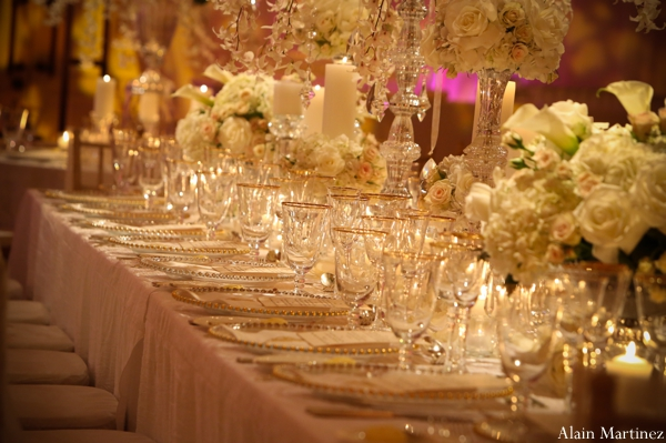 Indian wedding table setting reception floral