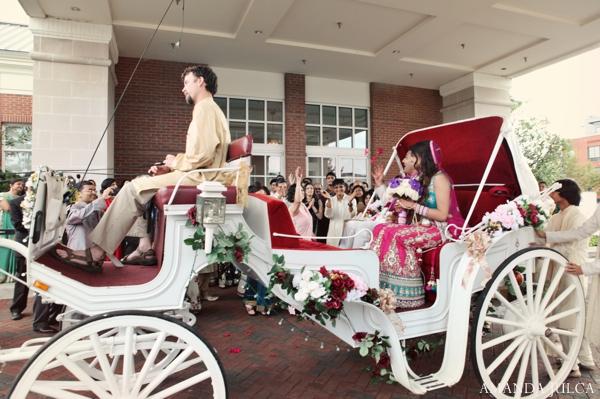 Indian wedding bride groom carriage getaway in Columbus, Ohio Indian Wedding by Amanda Julca