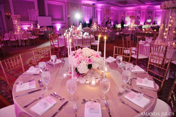 Indian wedding reception decor lighting table setting in Columbus