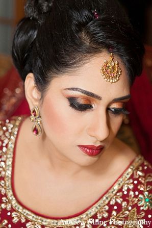 Indian bride hair makeup fashion in Coral Springs, Florida Indian Wedding by Andrew Milne Photography