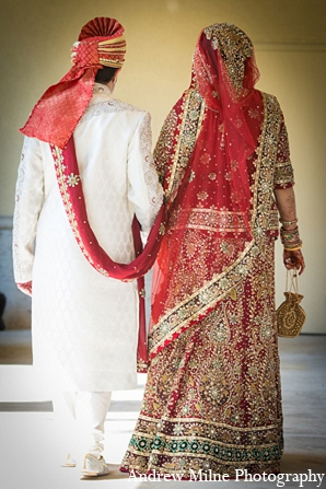 Indian fashion groom bride outfit in Coral Springs, Florida Indian Wedding by Andrew Milne Photography