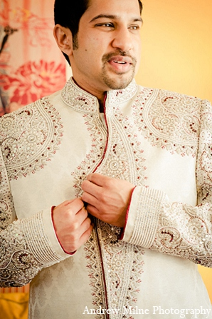 Indian fashion groom sherwani in Coral Springs, Florida Indian Wedding by Andrew Milne Photography