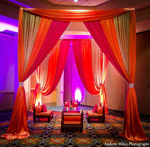 Indian mehndi wedding mandap decor in Coral Springs, Florida Indian Wedding by Andrew Milne Photography