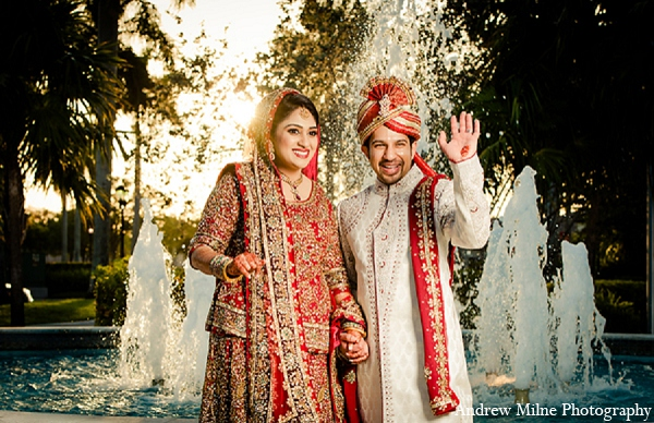 Indian portraits groom bride wedding in Coral Springs, Florida Indian Wedding by Andrew Milne Photography