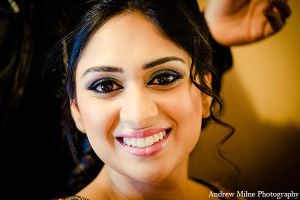 Indian wedding bridal makeup sangeet in Coral Springs, Florida Indian Wedding by Andrew Milne Photography