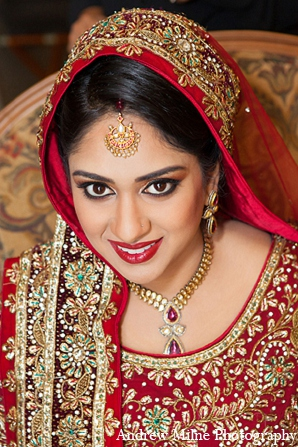 Indian wedding bride attire makeup in Coral Springs, Florida Indian Wedding by Andrew Milne Photography