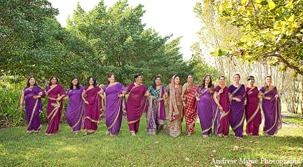 Indian wedding bride bridal party in Coral Springs, Florida Indian Wedding by Andrew Milne Photography