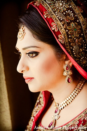 Indian wedding bride makeup fashion photography in Coral Springs, Florida Indian Wedding by Andrew Milne Photography