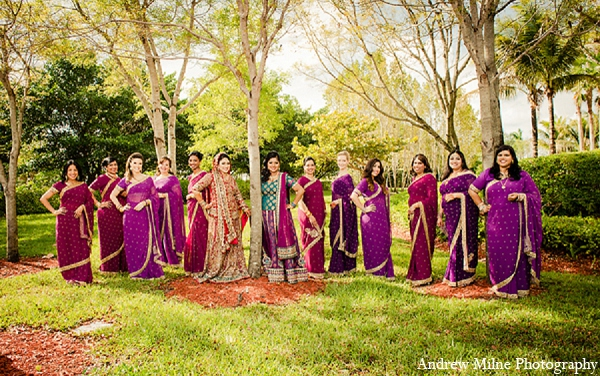 Indian wedding bride photography bridesmaids in Coral Springs, Florida Indian Wedding by Andrew Milne Photography