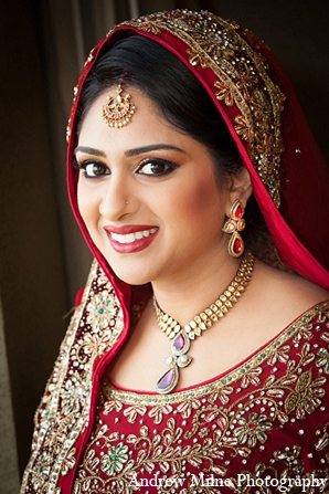 Indian wedding bride portrait makeup in Coral Springs, Florida Indian Wedding by Andrew Milne Photography
