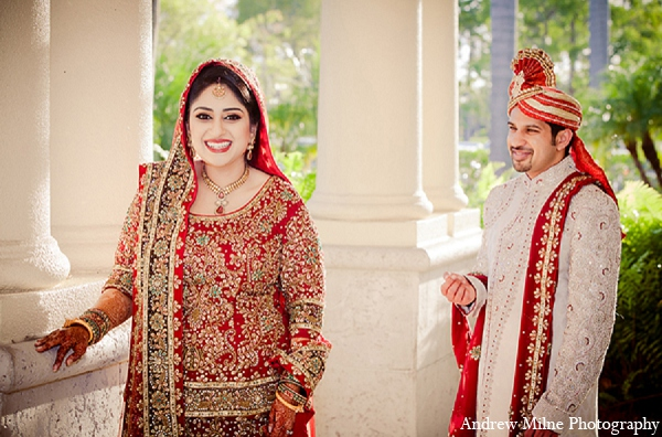 Indian wedding groom bride fashion in Coral Springs, Florida Indian Wedding by Andrew Milne Photography