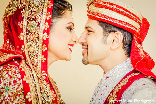 Indian wedding groom bride portrait in Coral Springs, Florida Indian Wedding by Andrew Milne Photography