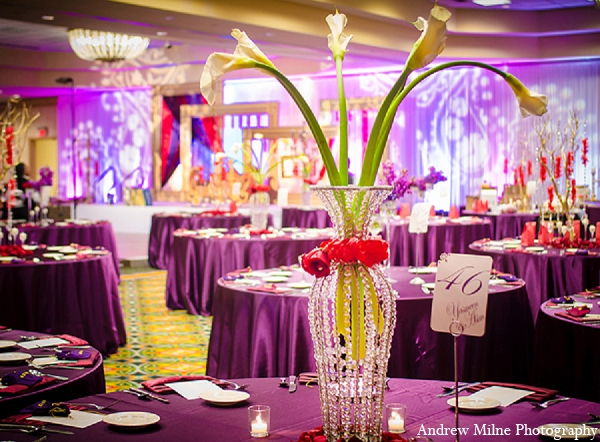 Indian wedding reception decor floral in Coral Springs, Florida Indian Wedding by Andrew Milne Photography
