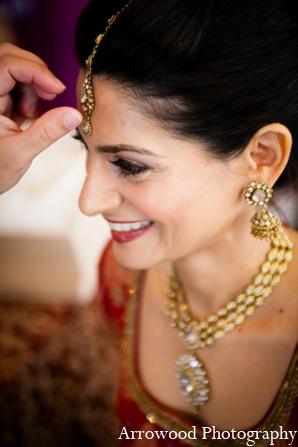 Indian wedding bridal jewelry hair makeup in Adorable Indian Fusion Wedding by Arrowood Photography Burlingame, California