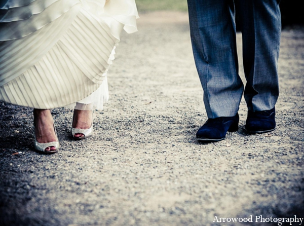 Indian wedding bride groom shoes in Adorable Indian Fusion Wedding by Arrowood Photography Burlingame, California