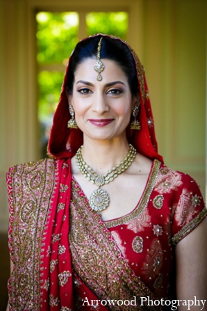 Indian wedding bride traditional lengha jewelry in Adorable Indian Fusion Wedding by Arrowood Photography Burlingame, California