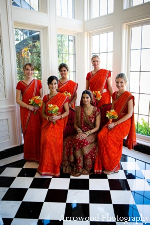 Indian wedding ceremony bridal party in Adorable Indian Fusion Wedding by Arrowood Photography Burlingame, California
