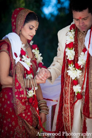 Indian wedding ceremony bride groom in Adorable Indian Fusion Wedding by Arrowood Photography Burlingame, California