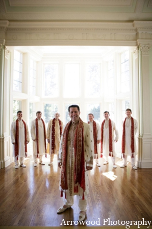 Indian wedding ceremony groomsmen in Adorable Indian Fusion Wedding by Arrowood Photography Burlingame, California