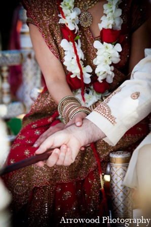 Indian wedding ceremony tradition bride groom in Adorable Indian Fusion Wedding by Arrowood Photography Burlingame, California