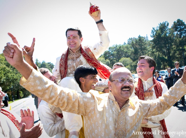 Indian wedding groom tradition baraat in Adorable Indian Fusion Wedding by Arrowood Photography Burlingame, California