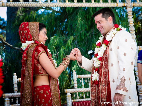 Indian wedding mandap bride groom in Adorable Indian Fusion Wedding by Arrowood Photography Burlingame, California