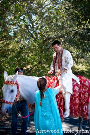 Indian wedding tradition baraat custom in Adorable Indian Fusion Wedding by Arrowood Photography Burlingame, California