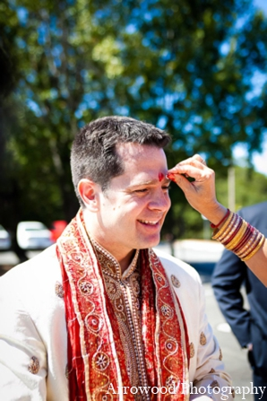Indian wedding tradition bindi in Adorable Indian Fusion Wedding by Arrowood Photography Burlingame, California