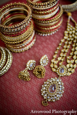 Indian wedding traditional bridal jewelry in Adorable Indian Fusion Wedding by Arrowood Photography Burlingame, California