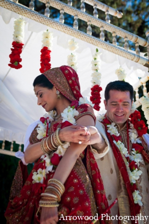 Indian wedding traditional ceremony mandap in Adorable Indian Fusion Wedding by Arrowood Photography Burlingame, California