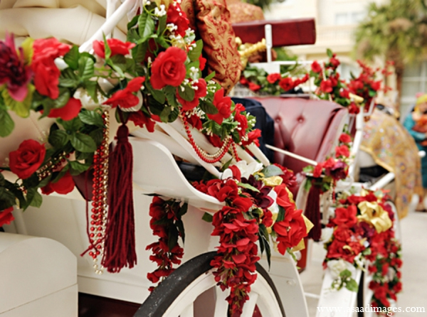 Indian wedding baraat carriage floral decor in Orlando, Florida Indian Wedding by Asaad Images